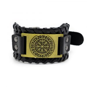Viking Adjustable Bracelet Rune Compass Artificial Leather