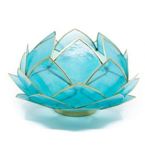 Lotus Mood Light Blue Gold Rim Large