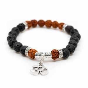 Rudraksha Bracelet with Lava Stone and OHM