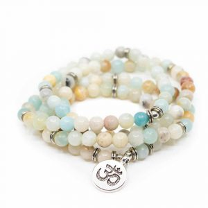 Gemstone Bracelet Amazonite Elastic with OHM