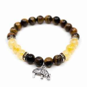 Gemstone Bracelet Tiger Eye/Citrine with Elephant