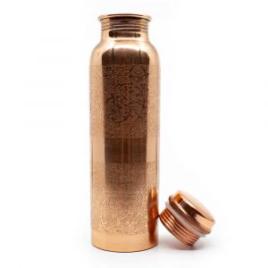 Spiru Copper Water Bottle Floral Etched - 900 ml