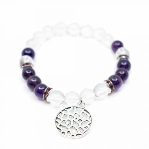 Gemstone Bracelet Amethyst/Rock Crystal with Abstract Charm