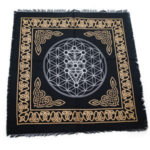 Tapestry Spiritual Cotton Gold and Silver Altar cloth Flower of Life/Metatron (45 x 45 cm)