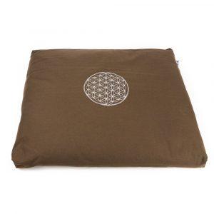 Meditation Mat Zabuton Brown Cotton - Flower of Life - 68 x 56 x 6 cm - incl. Inner Cover