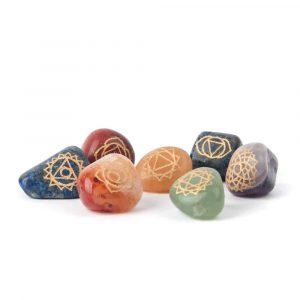 SET 7 Chakra Drumstones with Chakra Symbols