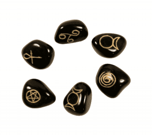 Wicca Symbols Stones Agate Black (Set of 6)