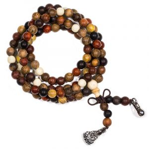 Mala Bracelet Four Timber Types Elastic with Beads for Jewelry