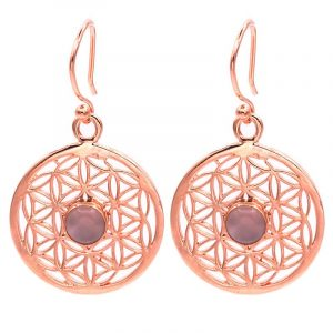Earrings Flower of Life with Rose Quartz