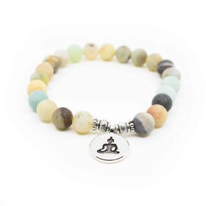 Gemstone Bracelet Amazonite Mala Elastic with Buddha