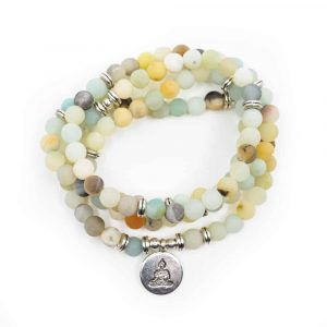 Gemstone Bracelet Amazonite Mala with Buddha (6 mm beads)