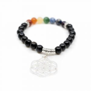 Black Onyx Chakra Bracelet with Flower of Life