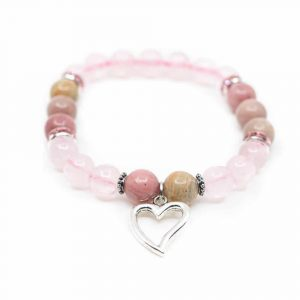 Gemstone Bracelet Rose Quartz/Rhodochrosite Heart