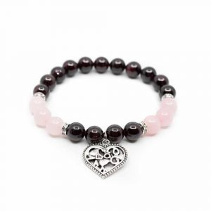 Gemstone Bracelet Garnet/Rose Quartz with Heart