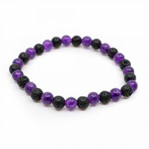 Gemstone Bracelet Amethyst/Lava Stone