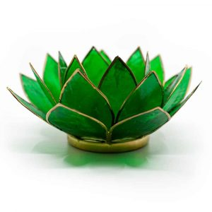Lotus Mood Lights Green 4th Chakra Gold Rim