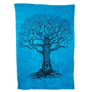 Tree of Life Tapestry Cotton Blue Authentic (215 x 135 cm)