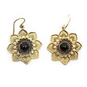 Earrings Flower Amethyst Gold-tone (30 mm)