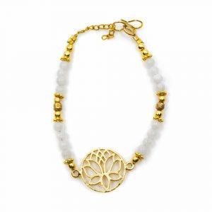 Gemstone Bracelet Moonstone with Lotus (20 cm)