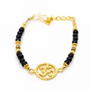 Gemstone Bracelet Black Onyx with OHM (20 cm)