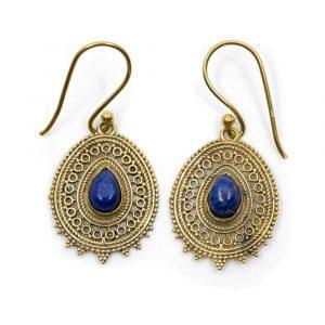Gemstone Bohemian Earrings Lapis Lazuli (25 mm)