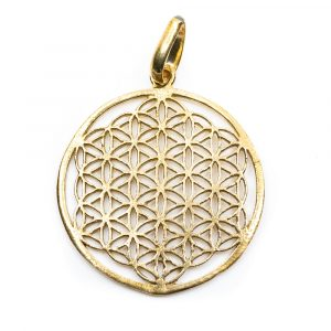 Flower of Life Pendant Brass Gold-coloured (3 cm)