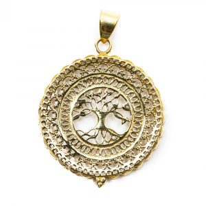 Pendant Tree of Life Brass Gold-coloured (40 mm)