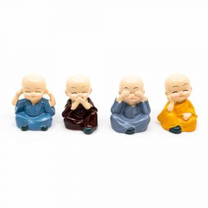 Happy Buddha Image Cheerful Colours - set of 4 - approx. 6 cm