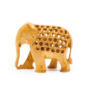 Wooden Elephant Statue with Baby (8 cm)