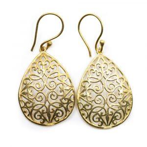 Earrings Drop Shaped Gold-tone Brass(30 mm)