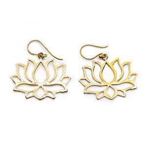 Earrings Lotus Brass Gold-tone (25 mm)
