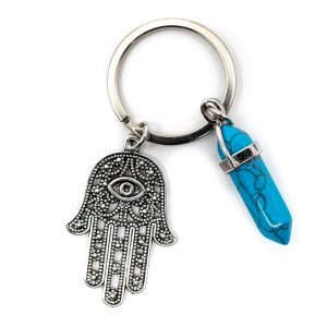 Keychain Protection Hamsa Hand with Double Terminated Stone