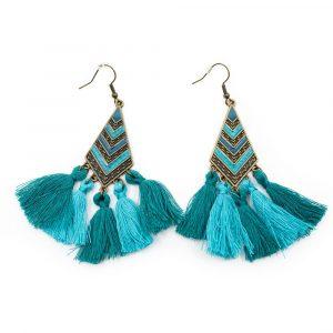 Bohemian Earrings Blue Tassels