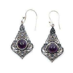 Bohemian Earrings Brass with Amethyst
