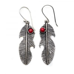 Bohemian Earrings Feather Shaped with Bamboo Coral (30 mm)