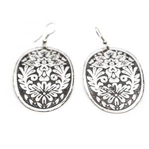 Bohemian Earrings Flower Discs Silver-tone (60 mm)