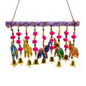 Decorative Garland 5 Fabric Elephants with Bells Horizontal