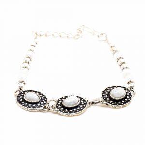 Gemstone Bracelet Bohemian Moonstone Silver (18 cm)