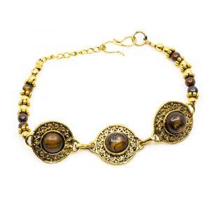 Gemstone Bracelet Bohemian Tiger Eye Silver (18 cm)