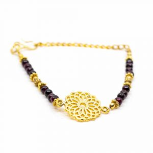 Gemstone Bracelet Garnet with Mandala (20 cm)