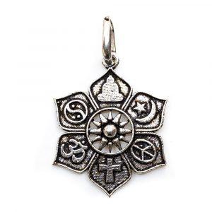 Pendant Lotus with Religious Symbols (28 mm)