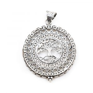 Tree of Life Pendant Brass Silver-tone (40 mm)