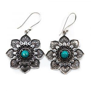 Earrings Flower Turquoise Silver-tone (30 mm)