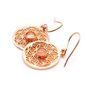 Earrings Flower of Life Rose Quartz Copper (20 mm)