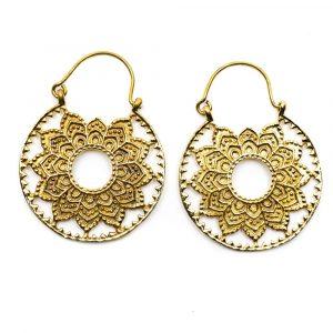 Earrings Lotus Mandala Brass Gold-tone (30 mm)
