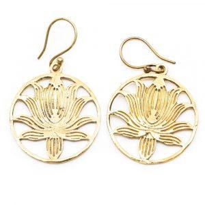 Earrings Lotus Brass Gold-tone (30 mm)