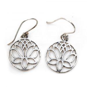 Earrings Lotus Brass Silver-tone (20 mm)