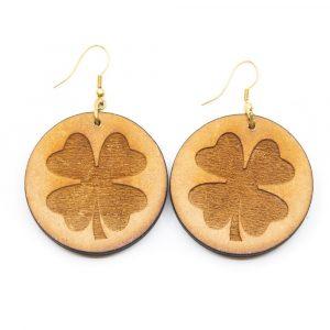 Earrings Four Leaf Clover Wood