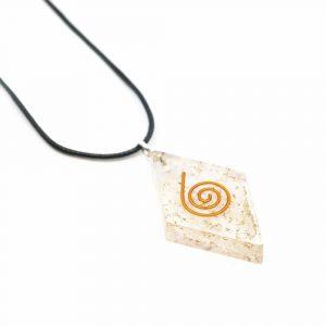 Orgon Pendant Selenite Diamond-shaped with Copper Spiral
