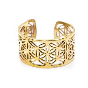 Adjustable Ring Flower of Life Gold-tone Brass (10 mm)